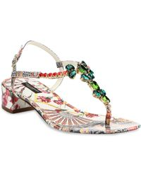 Dolce & Gabbana Jeweled Patent Leather Block-Heel Sandals - Lyst