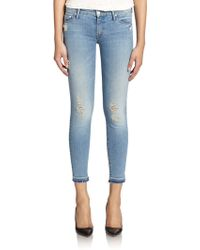 Mother The Looker Distressed Cropped Skinny Jeans - Lyst