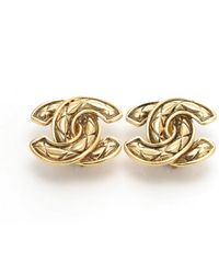 Chanel Pre-owned Quilted Cc Logo Clip-on Earrings - Lyst