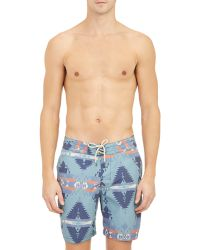 Faherty Brand - Tribal-Print Board Shorts - Lyst
