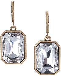 Sam Edelman Gold Tone and Crystal Stone Drop Earrings - Lyst