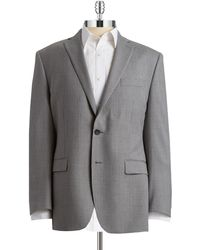 Calvin Klein Checked Two Button Suit Jacket - Lyst