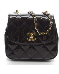 Chanel Preowned Black Patent Leather Quilted Mini Crossbody Bag - Lyst