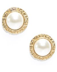 Chanel Preowned Faux Pearl Gold Clip On Earrings - Lyst