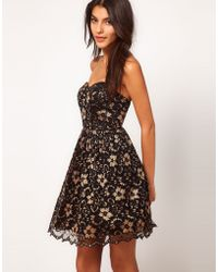 Asos Strapless Skater Dress in Lace - Lyst