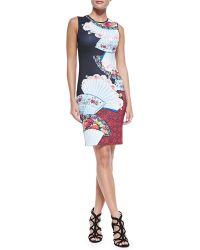 Clover Canyon Sleeveless Fan-print Foulard Dress  - Lyst
