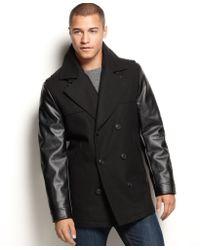 Sean John Faux-leather-sleeve Military Pea Coat - Lyst