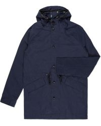 Paul Smith Navy Waxed Cotton-Blend Parka - Lyst