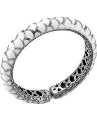 John Hardy Naga Silver Enamel Slim Flex Cuff with White Enamel - Lyst