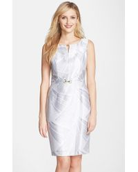 Ellen Tracy Metallic Twill Sheath Dress - Lyst