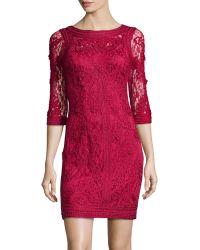 Sue Wong Lace Floralapplique Dress - Lyst