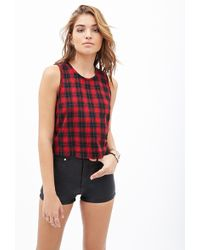 Forever 21 Plaid Back-Zip Top - Lyst