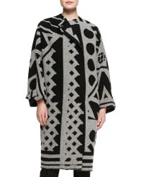 Burberry Prorsum Double-Breasted Printed Coat - Lyst