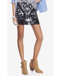 Express Aztec Sequin Mini Skirt - Lyst