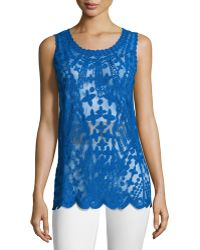 Laundry by Shelli Segal Embroidered-Mesh Tank blue - Lyst