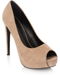 Forever 21 Faux Suede Peeptoe Pumps - Lyst