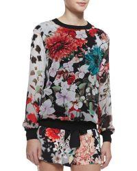 Roberto Cavalli Silk Floral-print Long-sleeve Top - Lyst