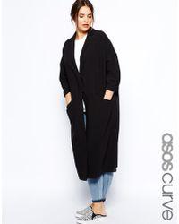 Asos Curve Duster Coat black - Lyst