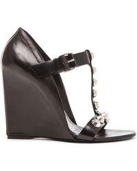 Balenciaga Studded Wedge Leather Sandals black - Lyst