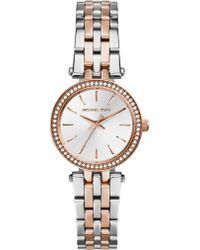 Michael Kors Petite Darci Two-Tone Stainless Steel Glitz Bracelet Watch - Lyst