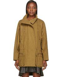 Balmain Khaki Quilted Dolman Sleeve Coat - Lyst