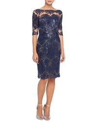 Tahari | Embroidered Lace Sheath Dress With Illusion Neckline | Lyst