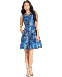 Tahari By Asl Metallic Floral Pleated Dress - Lyst