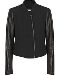 Helmut Lang Leather-Sleeved Cotton And Wool-Blend Jacket - Lyst