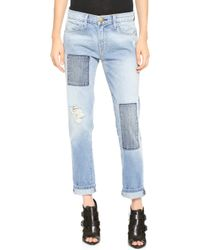 Current/Elliott The Patchwork Fling Jeans Kasey with Repair - Lyst
