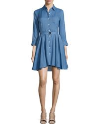 Theory Jalyis Sunny Belted Shirtdress blue - Lyst