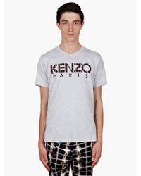 Kenzo Mens Grey Cotton Logo Tshirt - Lyst