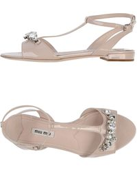 Miu Miu Gray Sandals - Lyst
