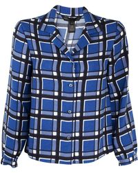 Marc By Marc Jacobs Plaid Boxy Blouse blue - Lyst