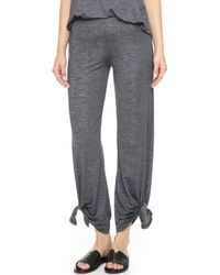 Beyond Yoga Cloud Heather Ankle Tie Trousers - Heather Grey