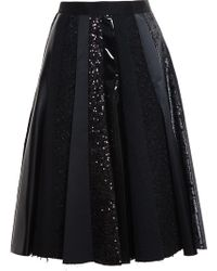 Junya Watanabe Pleated Multifabric Skirt - Lyst