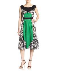BCBGMAXAZRIA Camyla Pleated Print-Blocked Dress - Lyst
