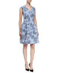 Lela Rose Floral Dress with Hidden Zip Front - Lyst