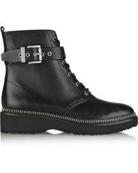 MICHAEL Michael Kors Vivia Zip-Trimmed Leather Ankle Boots - Lyst