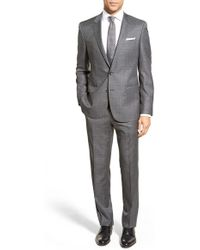 BOSS | Trim Fit Check Wool Suit | Lyst