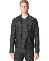 Calvin Klein Jeans Textured Faux Leather Moto Jacket - Lyst