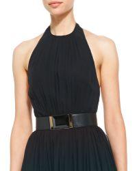 Elie Saab Halter-Top Gown & Lambskin Leather Belt - Lyst