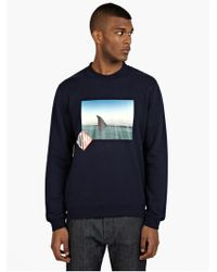 Raf Simons Men'S Shark Printed Cotton Sweatshirt - Lyst