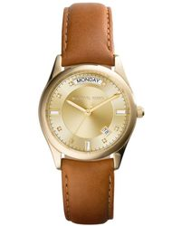 Michael Kors Ladies Colette Gold Tone And Leather Watch - Lyst