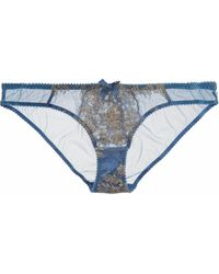 L'agent By Agent Provocateur Iana Metallic Lace-Paneled Tulle Briefs - Lyst