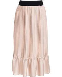 TOME Pink Satin Pleated Elastic Waist Skirt