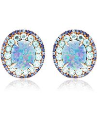 Shawn Ames - Ophelia Earrings with Opal Doublets Round Brilliant Blue Blue Sapphires and Apatite - Lyst