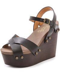 Flogg - Liliana Wedge Sandals - Black - Lyst