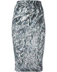McQ by Alexander McQueen Fanzine Foil Pencil Skirt - Lyst