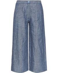 Loup Charmant Brunswick Wide-leg Cropped Linen Trousers - Blue