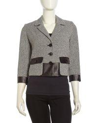 Lafayette 148 New York Tweed-Leather Contrast Jacket - Lyst